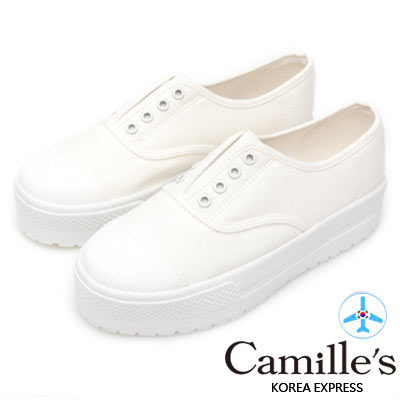 Camille's 韓國空運-正韓製-丹寧8孔免綁帶厚底休閒鞋-白色