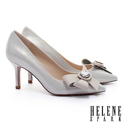 高跟鞋 HELENE SPARK 奢華晶鑽手工花飾羊皮美型尖頭高跟鞋-金