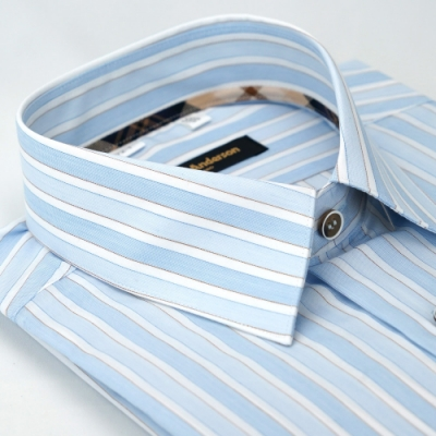 【金‧安德森】經典格紋繞領藍白條紋窄版長袖襯衫fast