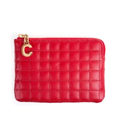 CELINE 新款C LOGO車縫格紋牛皮C CHARM零錢包 (紅色)