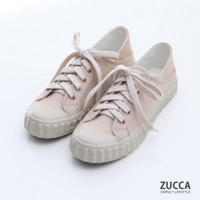 ZUCCA-雙色綁帶繩帆布休閒鞋-駝-z6906lc