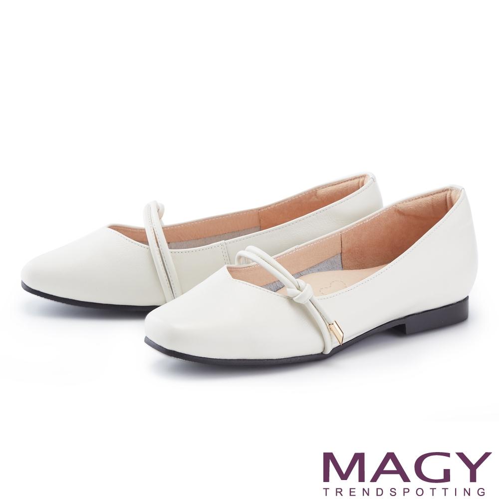 MAGY 造型腳背帶真皮 女 平底鞋 白色