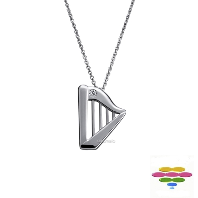 彩糖鑽工坊 豎琴項鍊&音符鑽石項鍊 幸福樂章 Happiness系列 (日本10K輕珠寶)