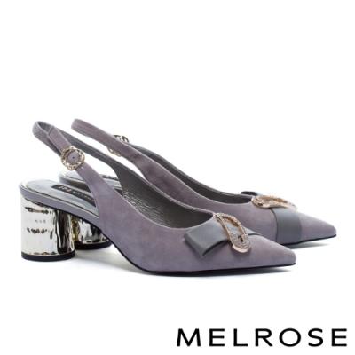 高跟鞋 MELROSE 摩登時尚晶鑽別針造型後繫帶尖頭粗高跟鞋-灰