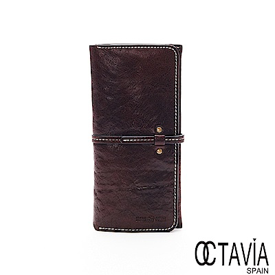 OCTAVIA8 真皮 -  密絲朵 長型牛皮插扣三折長夾 - 巧克力咖