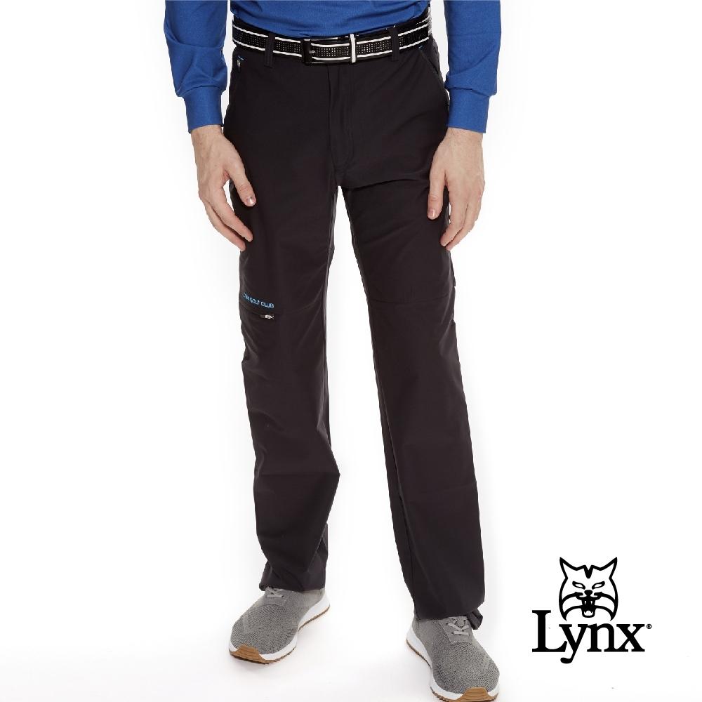 【Lynx Golf】男款瑞士3XDRY吸濕速乾防潑水平口休閒長褲-黑色