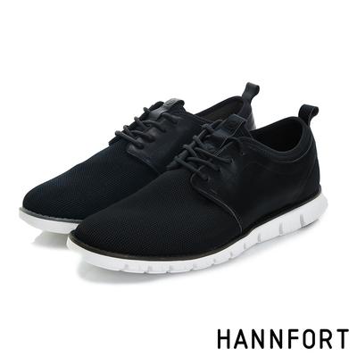 HANNFORT ZERO GRAVITY編織德比氣墊休閒鞋 男 穩重黑