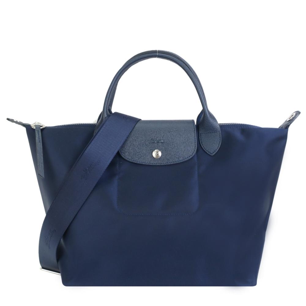 LONGCHAMP LE PLIAGE NÉO系列新款厚尼龍奔馬織紋寬背帶短把兩用包(中/深藍)