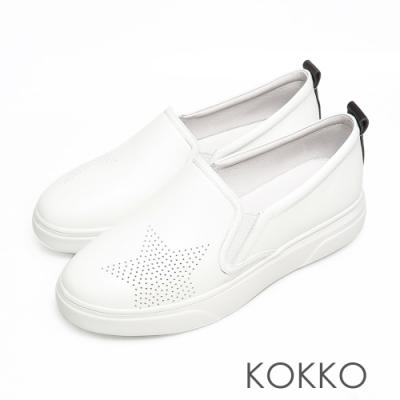 KOKKO舒適透氣星星鏤空牛皮厚底休閒鞋清爽白