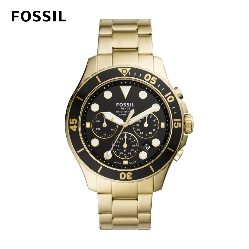 FOSSIL FB - 03 三眼計時黑鏡潛水男錶 金色不鏽鋼錶帶 46MM FS5727