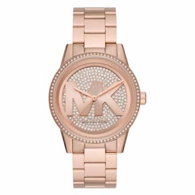 Michael Kors 華麗風滿鑽大LOGO潮流腕錶-玫瑰金-MK6863-42mm