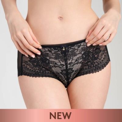 黛安芬-時尚奢華 清新馬鞭草系列透明網布無痕中腰平口內褲 M-EL 質感黑