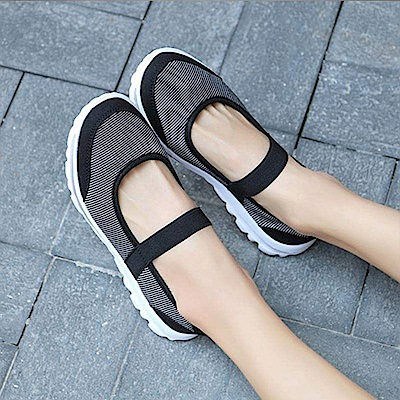 韓國KW美鞋館 飛織布面娃娃款減震軟底鞋-黑色