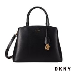 DKNY 真皮簡約斜背手提包 黑