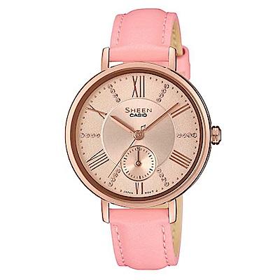 SHEEN 氣質簡約俐落皮帶指針腕錶-粉帶x粉面(SHE-3066PGL-4A)/41mm
