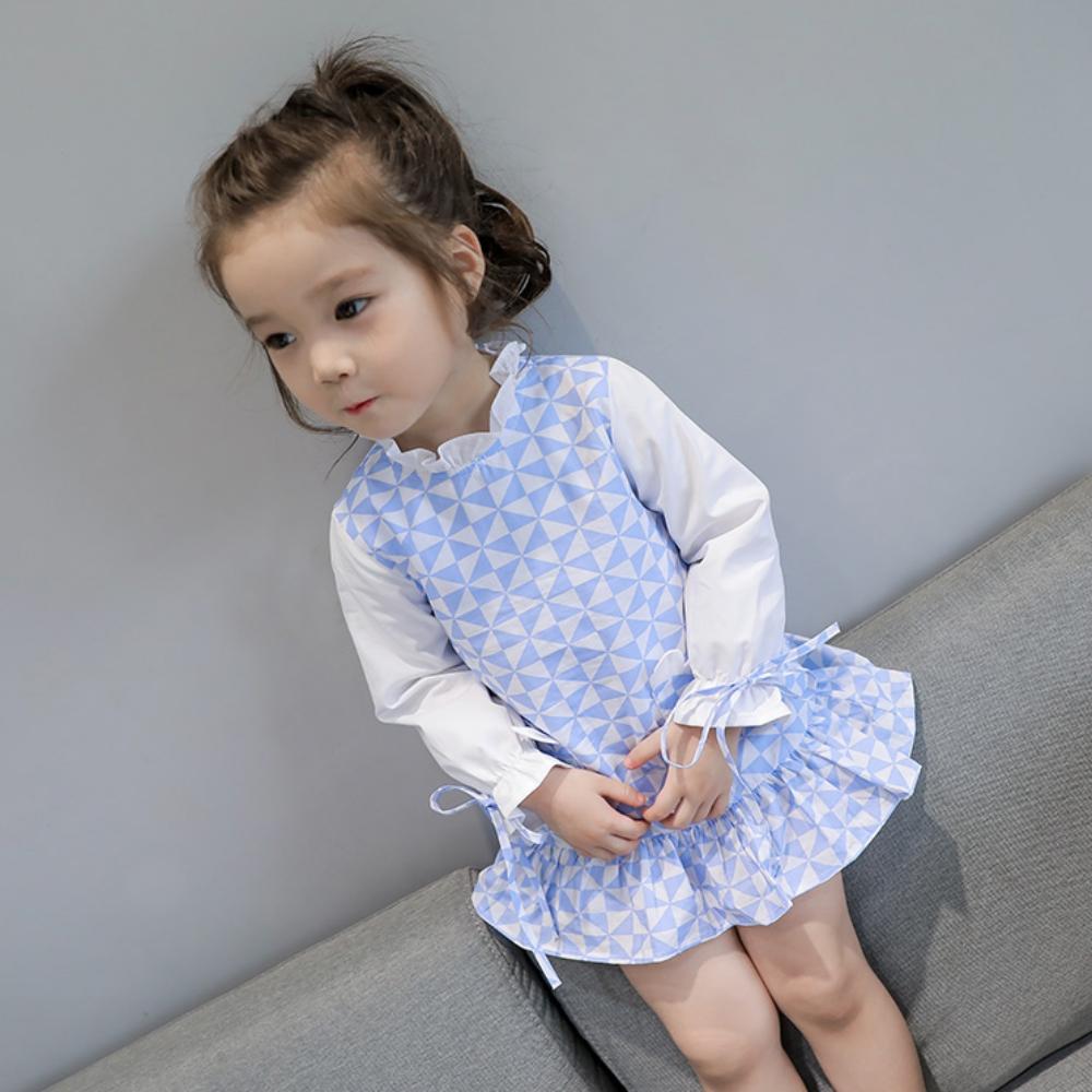 小衣衫童裝   小清新幾何圖長袖繫帶連身裙1060911