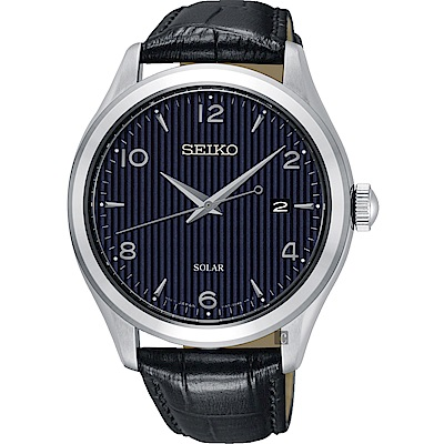 SEIKO 精工 SOLAR 太陽能日系紳士時尚手錶-藍/42mm