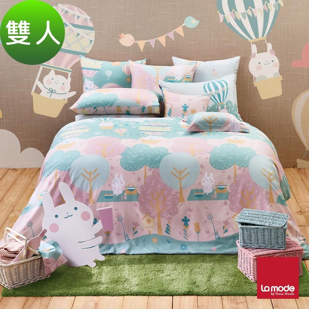 La mode寢飾 櫻花嘉年華環保印染100%精梳棉兩用被床包組(雙人)