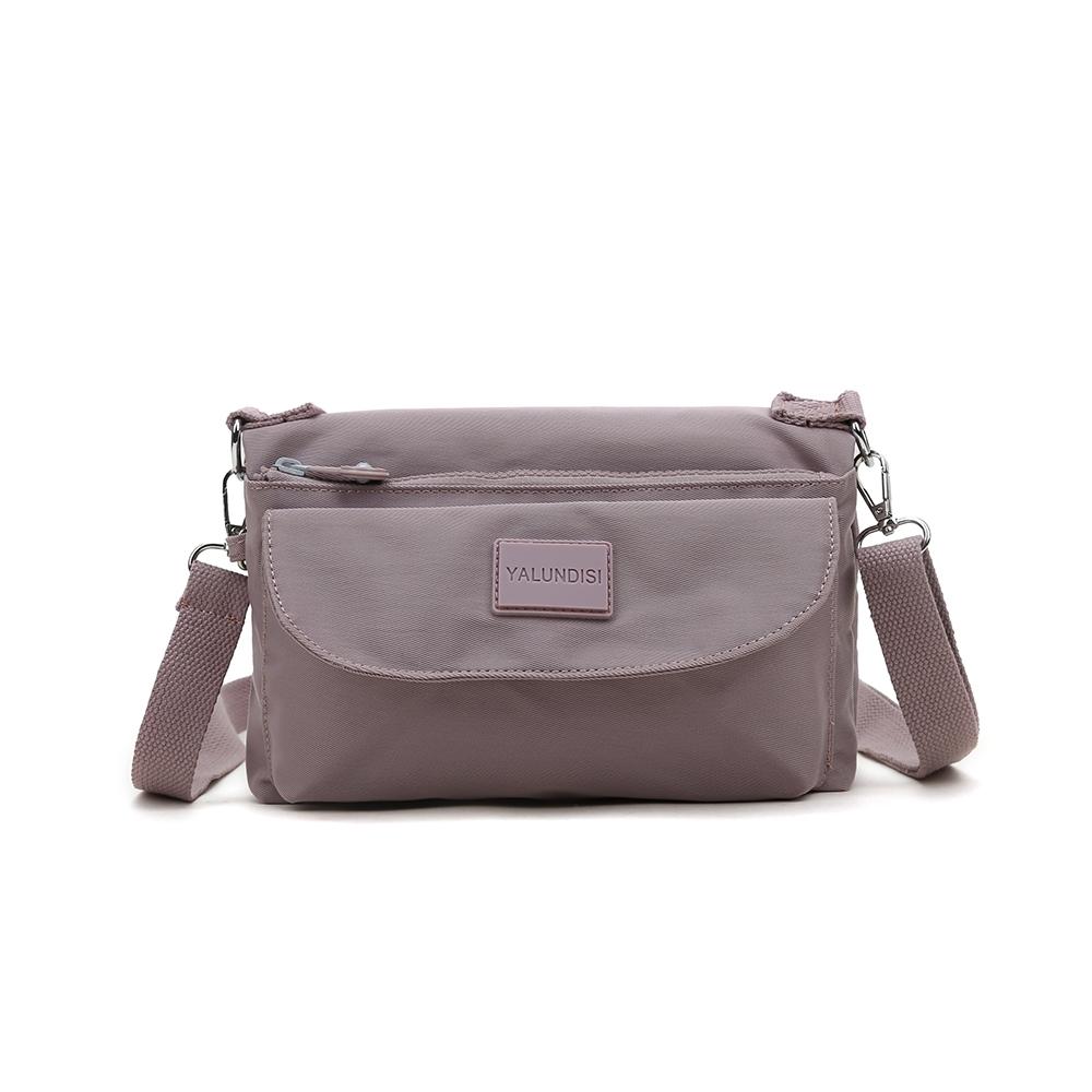 CABACI 素色便利防盜防潑水小斜背包-藕粉色