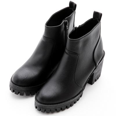 River&Moon短靴-率性渲染皮革拉鍊中跟軍短靴-黑