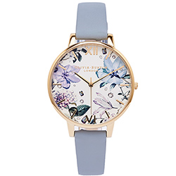 Olivia Burton 繽紛花色風皮革手錶(OB16BF21)-白面X藍灰色/38mm