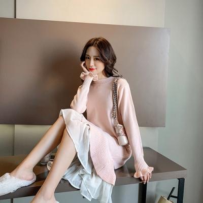2F韓衣-韓系圓領花朵造型拼接蕾絲連身裙-粉F