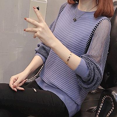 初色  鏤空條紋針織衫-共5色-(F可選)