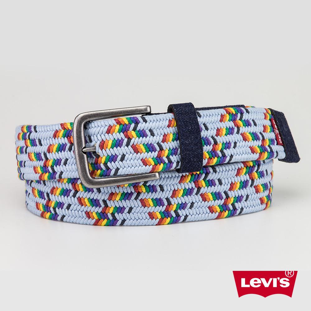 Levis 男款 皮帶 彩虹編織