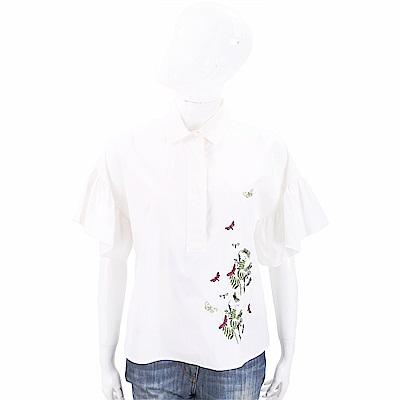 Max Mara-WEEKEND 花蝶刺繡米白色荷葉袖襯衫