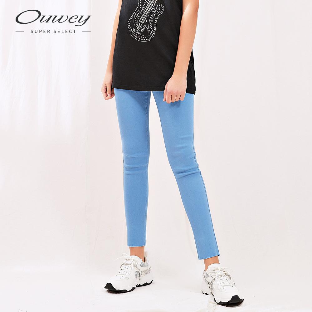 OUWEY歐薇 簡約不修邊寬腰頭緊身內搭褲(綠/藍/黑)