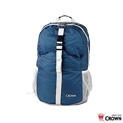 CROWN 皇冠 防水防撕裂 摺疊後背包 藍色