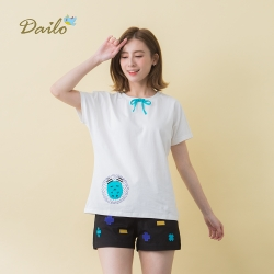 【Dailo】倉鼠圓領蝴蝶結T恤-上衣(四色)