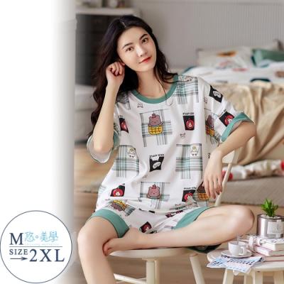 悠美學-精梳棉短袖印花居家服套裝-動物同樂會(M-2XL)