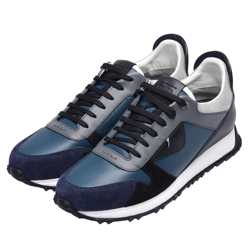 FENDI 經典小怪獸眼睛皮革拼接鉚釘飾邊造型休閒鞋(男-藍)