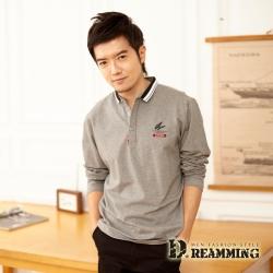 Dreamming 簡約羽毛萊卡彈力長袖POLO衫-共二色