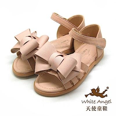 天使童鞋 優雅大蝴蝶結涼鞋(中-大童)D945-裸色