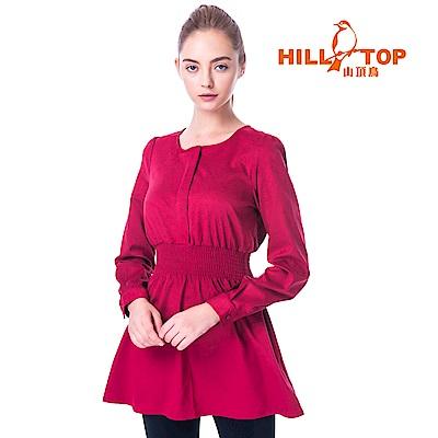 【hilltop山頂鳥】女款超潑水無領長袖襯衫C05F19暗紅