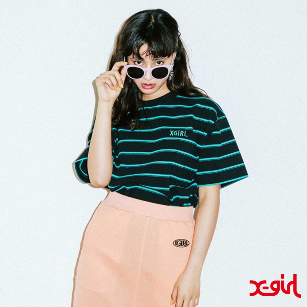 X-girl STRIPED PIQUE S/S TOP短袖條紋T恤-黑/藍
