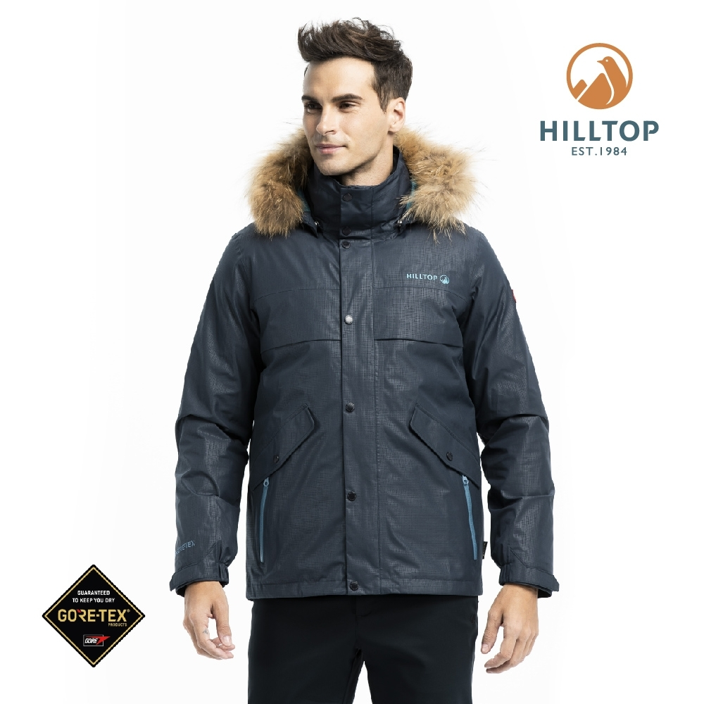 【hilltop山頂鳥】男款GORE-TEX防水羽絨短大衣F22MZ5印墨色