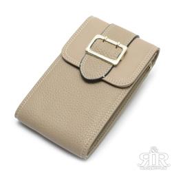 2R 訂製Gold金釦牛皮手機鍊帶收納包 淺杏灰