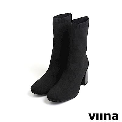 viina Basic 彈力圓頭針織高跟襪套靴 - 黑