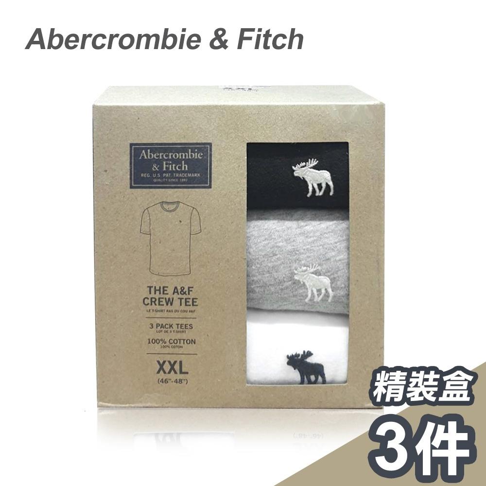 A&F 美國麋鹿/刺繡圓領經典/短袖素T恤/三色純棉款(1242381820801)