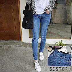 韓妞爆款收腹褲/鉛筆褲/鬆緊帶牛仔褲(XL-3L)淺藍 SISTERS