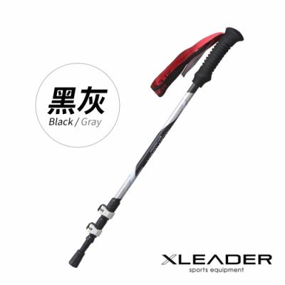 Leader X 7075輕量鋁合金外鎖式三節登山杖 附杖尖保護套 阻泥板 (三色任選)-急
