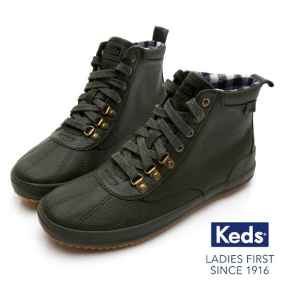 Keds SCOUT BOOT 華麗斜紋布綁帶休閒防潑水靴-橄欖綠