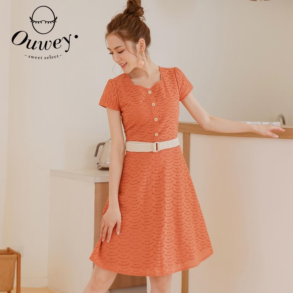 OUWEY歐薇 棉質蕾絲挑洞方領修身洋裝(桔)3212067123