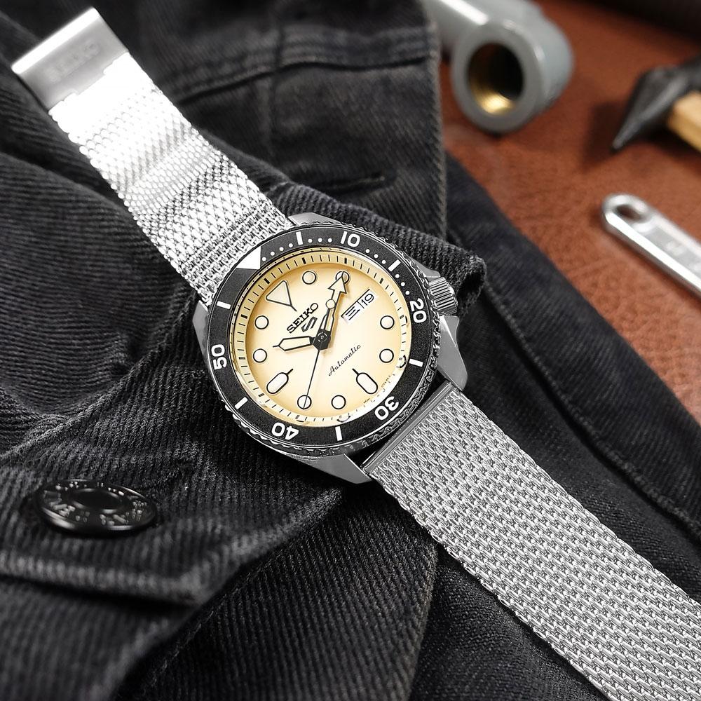SEIKO 精工 5 Sports 機械錶 自動上鍊 米蘭編織不鏽鋼手錶 米黃色 41mm