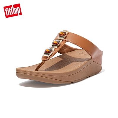 FitFlop FINO CRYSTAL LOCK TOE-POST SANDALS 寶石裝飾夾腳涼鞋-女(淺褐色)