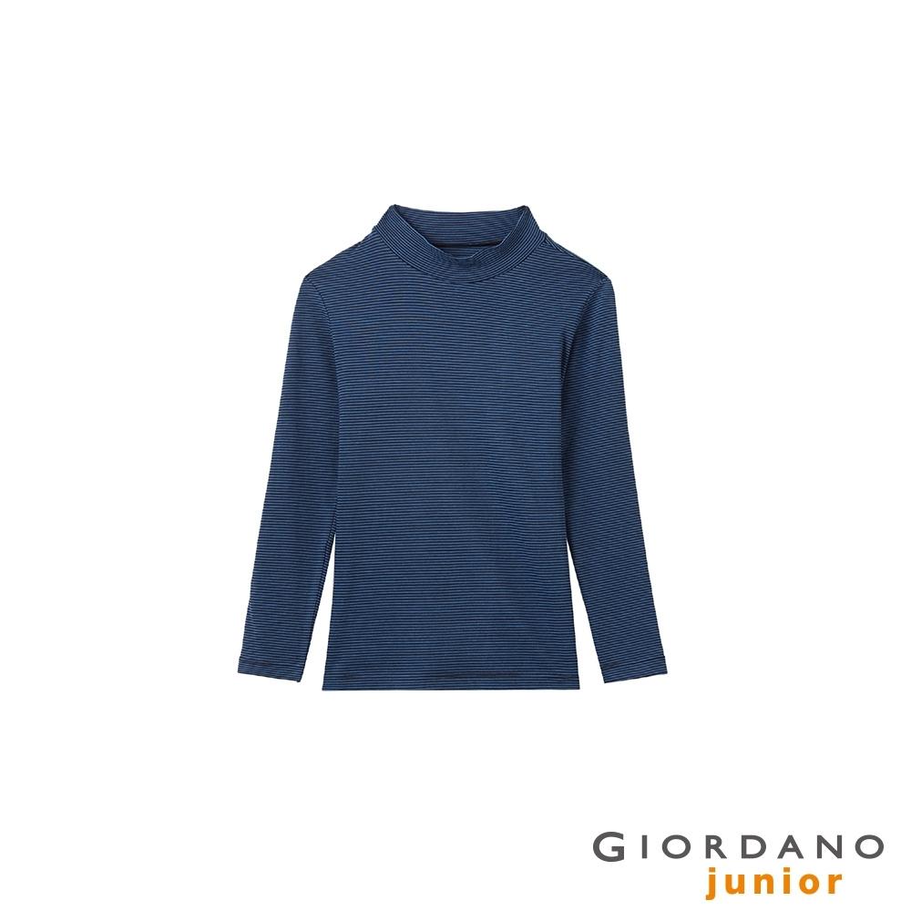 GIORDANO  童裝G-Warmer彈力小高領極暖衣 - 53 標誌黑x琉璃藍
