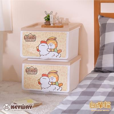 《KEYWAY》白爛貓OPEN收納箱39L -2入組